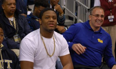 Donovan Jeter with Pat Narduzzi at Pitt Junior Day (Photo credit: Gar Bercury)